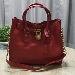 Michael Kors Red Leather Hamilton